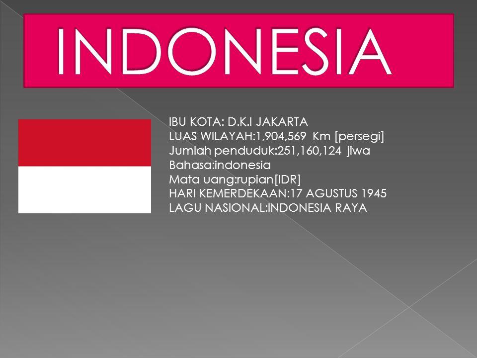 INDONESIA IBU KOTA: D.K.I JAKARTA LUAS WILAYAH:1,904,569 Km [persegi]